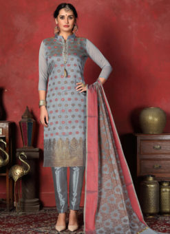 Lovely Multicolor Designer Banarasi Silk Churidar Salwar Suit