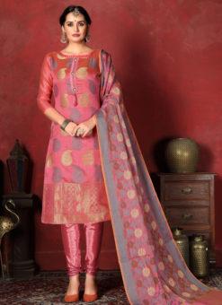 Splendid Pink Designer Banarasi Silk Churidar Salwar Suit