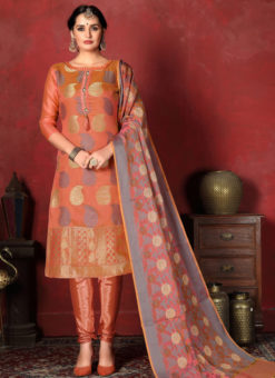 Excellent Orange Designer Banarasi Silk Churidar Salwar Suit