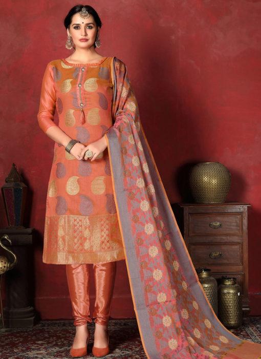 Excellent Orange Designer Banarasi Silk Churidar Salwar Suit