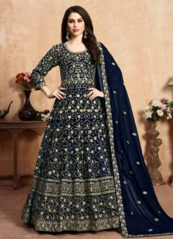 Awesome Blue Georgette Embroidered Work Anarkali Suit