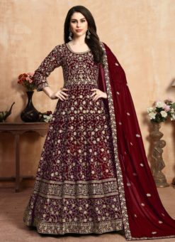 Dainty Maroon Georgette Embroidered Work Anarkali Suit