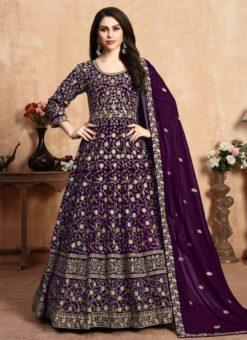 Fine Purple Georgette Embroidered Work Anarkali Suit