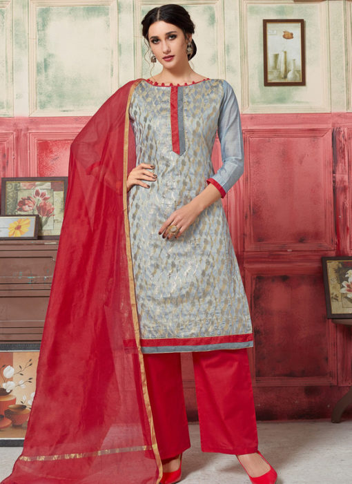 Alluring Grey Jacquard Zari Print Designer Salwar Kameez