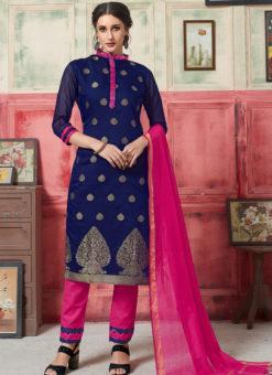 Lovely Blue Jacquard Zari Print Designer Salwar Kameez
