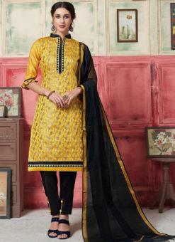 Elegant Yellow Jacquard Zari Print Designer Salwar Kameez