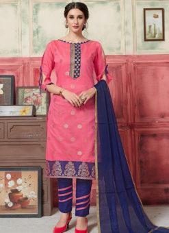 Charming Pink Jacquard Zari Print Designer Salwar Kameez