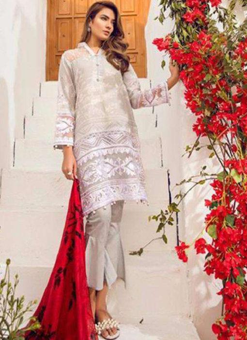 Lovely White Lawn Designer Pakistani Suit