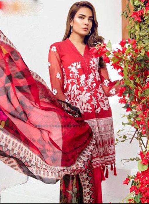 Alluring Red Lawn Designer Pakistani Suit