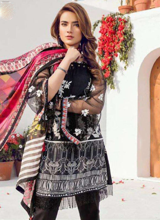 Glorious Black Lawn Designer Pakistani Suit