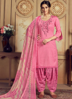 Lovely Pink Jam Cotton Casual Wear Punjabi Salwar Suit