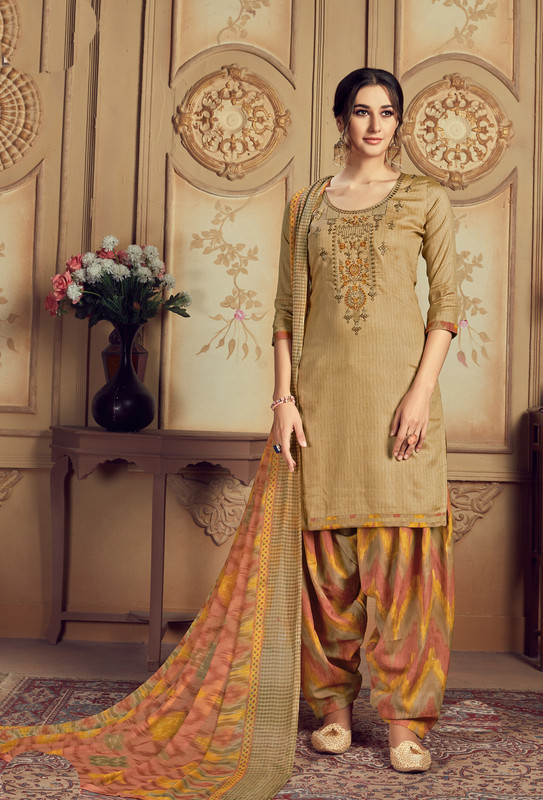 Jazzy Mustard Jam Cotton Casual Wear Punjabi Salwar Suit