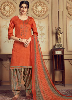 Elegant Rust Jam Cotton Casual Wear Punjabi Salwar Suit