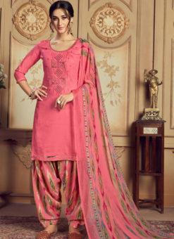 Alluring Rose Pink Jam Cotton Casual Wear Punjabi Salwar Suit