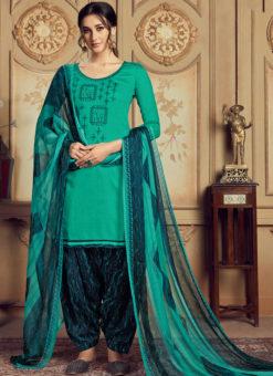 Amazing Sea Green Jam Cotton Casual Wear Punjabi Salwar Suit
