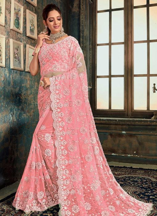 Charming Pink Net Wedding Wear Designer Saree
