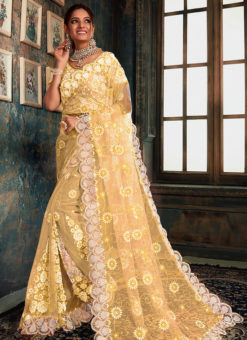 Lovely Yellow Net Wedding Wear Designer Saree