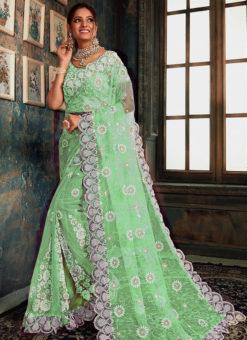 Elegant Pista Green Net Wedding Wear Designer Saree