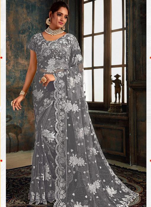 Amazing Grey Net Wedding Wear Designer Saree