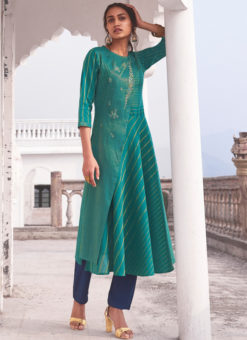 Designer Green Party Wear Readymade Linen Cotton Kurti With Bottom