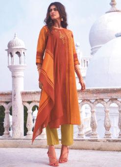 Designer Orange Party Wear Readymade Linen Cotton Kurti With Bottom