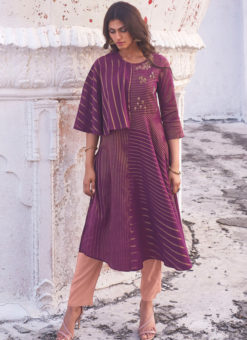 Designer Violet Party Wear Readymade Linen Cotton Kurti With Bottom