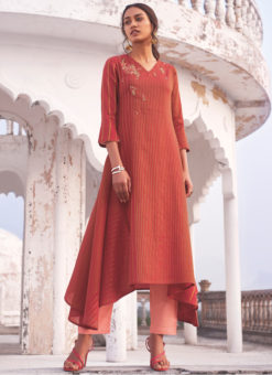 Designer Red Party Wear Readymade Linen Cotton Kurti With Bottom