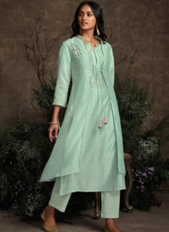Designer Aqua Green Readymade Berry Silk Kurta With Bottom