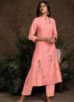 Designer Pink Readymade Berry Silk Kurta With Bottom