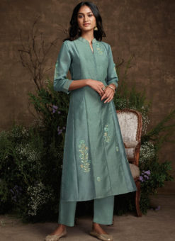Designer Sea Green Readymade Berry Silk Kurta With Bottom