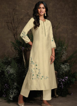 Designer Cream Readymade Berry Silk Kurta With Bottom