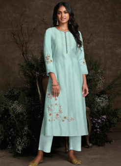 Designer Sky Blue Readymade Berry Silk Kurta With Bottom