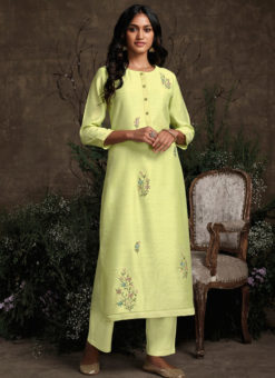 Designer Lemon Readymade Berry Silk Kurta With Bottom