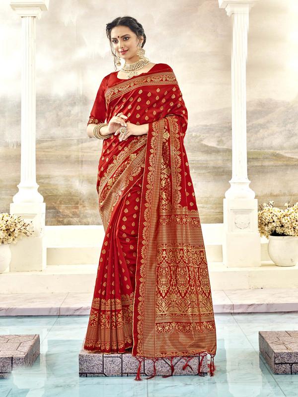 Miraamall Elegent Red Designer Bridal Wear Jacquard Silk Saree