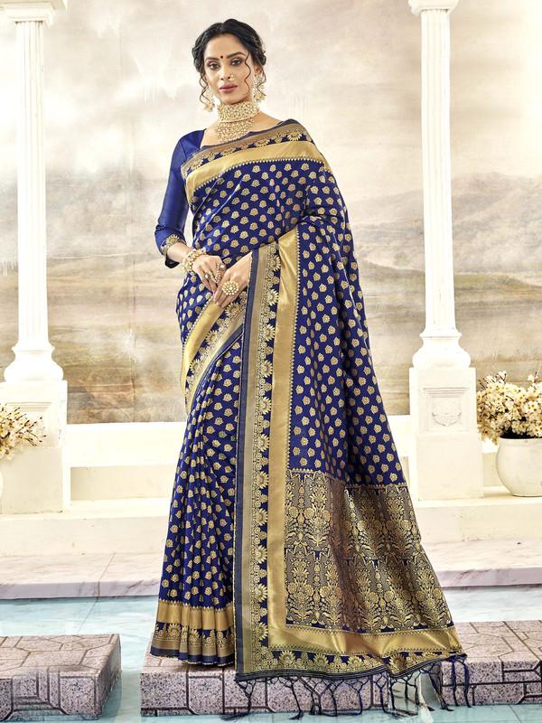Miraamall Graceful Blue Designer Bridal Wear Jacquard Silk Saree