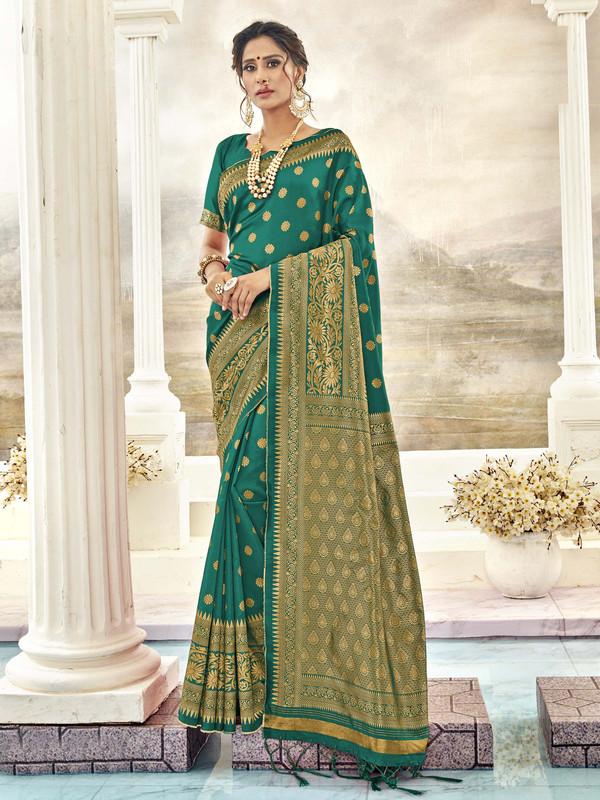 Miraamall Ingenious Green Designer Bridal Wear Jacquard Silk Saree