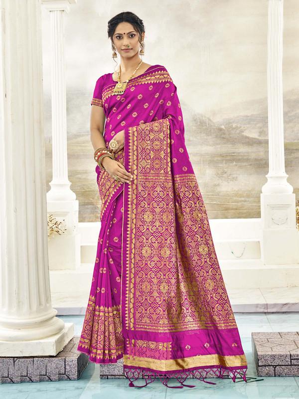 Miraamall Fashionable Pink Designer Bridal Wear Jacquard Silk Saree
