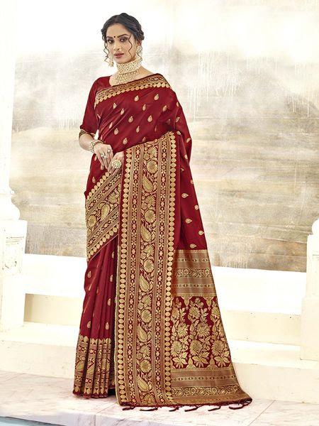 Miraamall Asthetic Maroon Designer Bridal Wear Jacquard Silk Saree