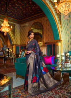 Miraamall Silk Saree Collection From Rajtex Blue And Fashionable