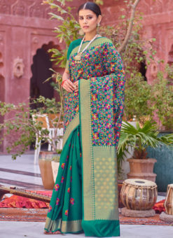 Elegant Green Designer Party Wear Weaving Silk Saree