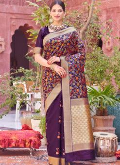 Lovely Purple Designer Party Wear Weaving Silk Saree