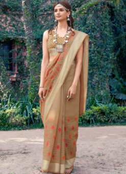 Designer Beige Casual Wear Printed Cotton Silk Saree