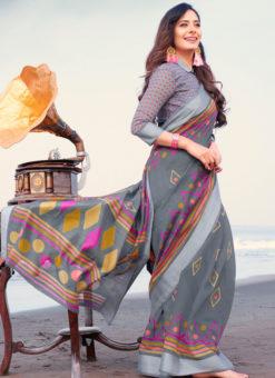 Latest Designer Casual Wear Printed Soft Linen Saree