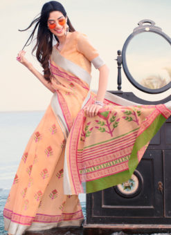 Latest Designer Casual Wear Printed Soft Linen Saree