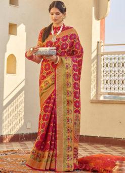 Red Designer Classic Wear Weaving Silk Saree