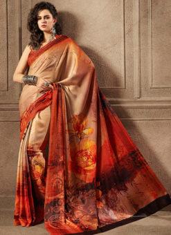 Multicolor Satin Digital Printed Casual Wear Saree
