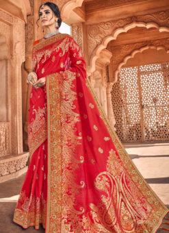 Heavy Designer Red Embroidred Art Silk Saree