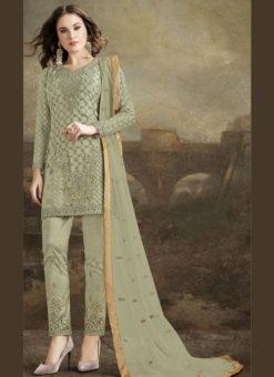 Amazing Green Net Embroidered Work Designer Paksitani Suit