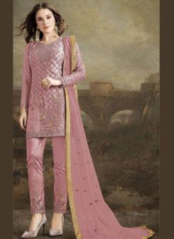 Jazzy Pink Net Embroidered Work Designer Pakistani Suit