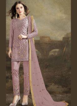 Glorious Purple Net Embroidered Work Designer Pakistani Suit